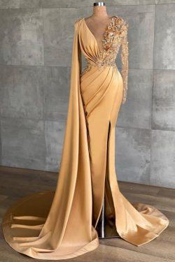 Gold Abiballkleider Lang Glitzer | Abendkleider mit Ärmel