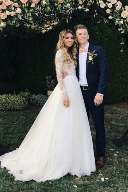 Wundershcöne Hochzeitskleider mit Ärmel   Chiffon Brautkleid A Linie
