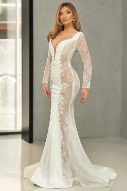 Schöne Hochzeitskleider Meerjungfrau Spitze | Brautkleider Mit Ärmel