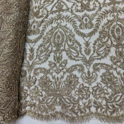 Elegant Embroidered French Lace Beaded Mesh Lace Fabric