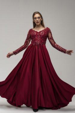 Weinrot Abendkleider Lang Günstig | Abiballkleider mit Ärmel
