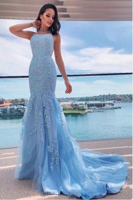 Heller Blau Abendkleider Lang Günstig | Abiballkleider mit Spitze