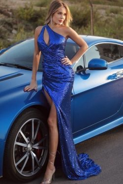 Abiballkleider König Blau | Abendkleider Lang Glitzer