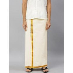 SAMSKARA 1INCH GOLD JARI SILKY FINISH DOUBLE DHOTI