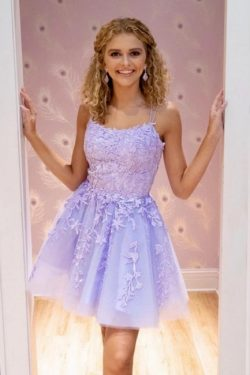 Schlichtes Abendkleid | Lavender Cocktailkleider Kurz