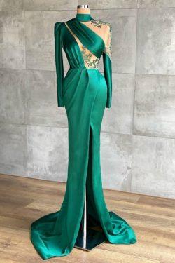 Abiballkleider Dunkel Grün | Abendkleider Lang Mit Ärmel