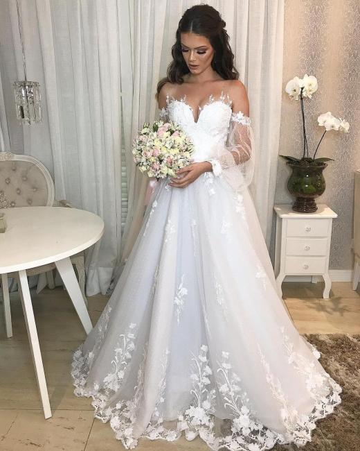 Designer Hochzeitskleid A Linie Spitze   Brautkleider mit Ärmel