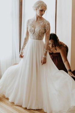 Schlichtes Hochzeitskleid mit Ärmel | Brautkleider A Linie Spitze