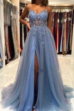 Blaues Abendkleider Lang Günstig | Abiballkleider Online Kaufen