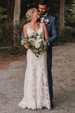 Schlichtes Hochzeitskleid Meerjungfrau | Brautkleider mit Spitze
