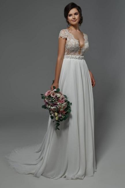 Sommer Strand Hochzeitskleider Chiffon   Schlichtes Brautkleid mit Spitze