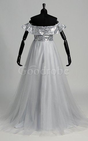 Robe de bal robe bouffante nature d'epaule ecrite de traîne courte de lotus – GoodRobe