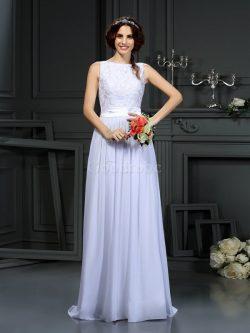 Robe de mariée avec chiffon de princesse ligne a encolure ronde avec sans manches – GoodRobe