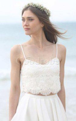 Robe de mariée avec perle bandouliere spaghetti manche nulle avec chiffon 2 pice – GoodRobe