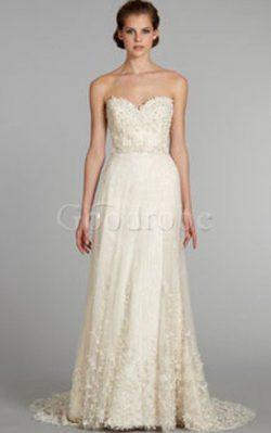 Robe de mariée de col en cœur avec perle brodé de traîne moyenne en tulle – GoodRobe