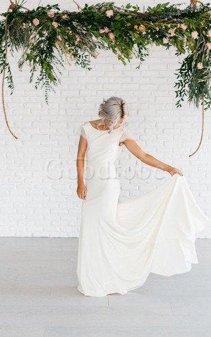Robe de mariée distinguee chic vintage avec manche épeules enveloppants ligne a – GoodRobe