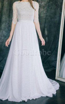Robe de mariée facile en dentelle col u profond de traîne courte manche nulle – GoodRobe