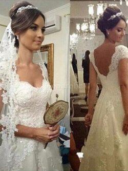 Robe de mariée jusqu'au sol a-ligne manche nulle de princesse textile en tulle – Goo ...