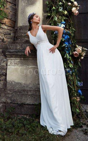 Robe de mariée longue avec perle a-ligne v encolure avec zip – GoodRobe