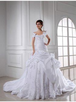 Robe de mariée longue cordon de col en cœur avec sans manches textile taffetas – GoodRobe