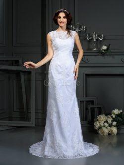 Robe de mariée longue de fourreau avec zip avec sans manches elevé – GoodRobe