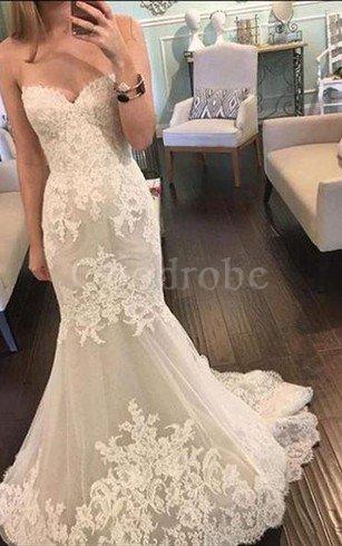 Robe de mariée luxueux charmeuse en tulle de sirène avec sans manches – GoodRobe