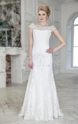 Robe de mariée naturel avec perle avec manche épeules enveloppants col u profond cordon –  ...