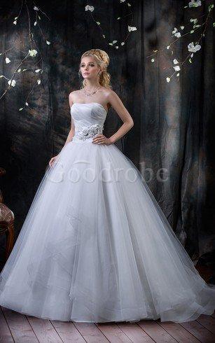 Robe de mariée naturel de bustier de mode de bal avec gradins textile en tulle – GoodRobe
