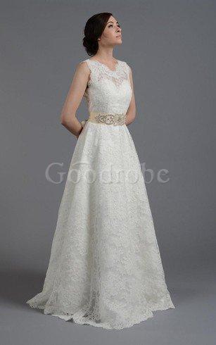 Robe de mariée naturel jusqu'au sol en dentelle ceinture a-ligne – GoodRobe