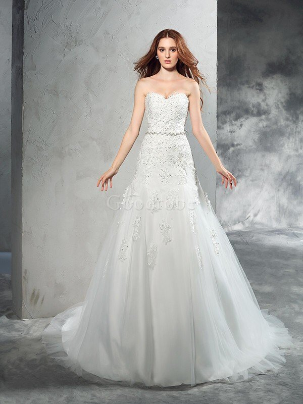 Robe de mariée naturel longue de traîne moyenne en satin avec zip – GoodRobe