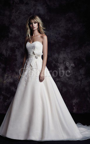 Robe de mariée naturel sexy avec nœud de princesse de bustier – GoodRobe