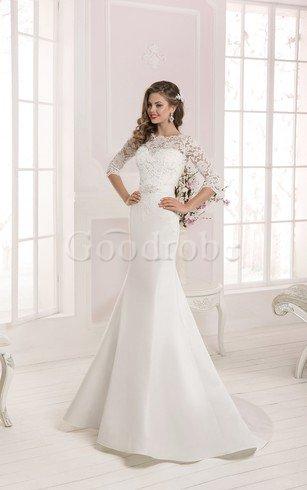 Robe de mariée simple de sirène avec manche 3/4 de traîne courte avec lacets – GoodRobe