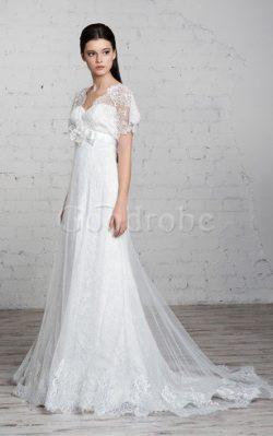 Robe de mariée simple de traîne courte v encolure avec ruban avec fleurs – GoodRobe