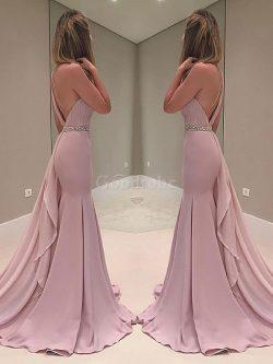 Robe de soirée avec sans manches énergique de sirène de lotus de traîne courte – GoodRobe