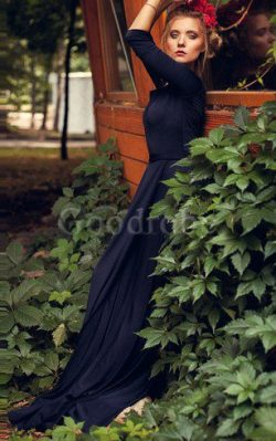 Robe demoiselle d'honneur simple romantique encolure ronde ligne a avec manche 3/4 – ...