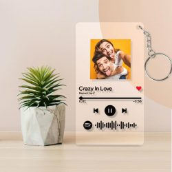 Spotify Glass Custom Scannable Keychain Spotify Code Music Plaque Keyring – 2.1IN X 3.4IN