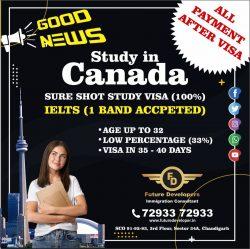 Good News – Study in Canada Study. Sure Short Study Visa (100%)