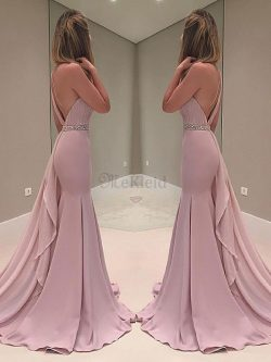 Sweep Train Chiffon Meerjungfrau Stil Normale Taille Eingängig Abendkleid mit Rüschen – Me ...