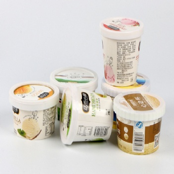 Logo Printed Paper Ice Cream Cup with Paer Lid