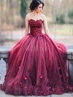 Abito da Sera con Applique Ball Gown in Tulle Cuore Naturale – Gillne.it
