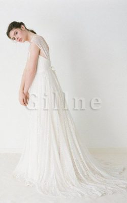 Abito da Sposa in Pizzo A-Line a Riva V-Scollo con Increspature – Gillne.it