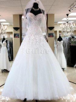 Abito da sposa magnifico senza maniche allacciato in tulle a sala lunghi – Gillne.it