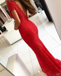 Rotes Abendkleid Lang V Ausschnitt | Abiballkleider Spitze