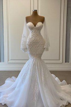 Schöne Brautkleider Meerjungfrau | Spitze Hochzeitskleider mit Ärmel