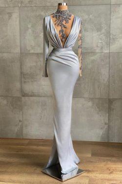 Silber Abiballkleider Lang Günstig | Abendkleider mit Ärmel