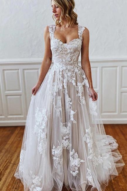 Schlichtes Brautkleid A Linie Spitze | Hochzeitskleider Günstig Online