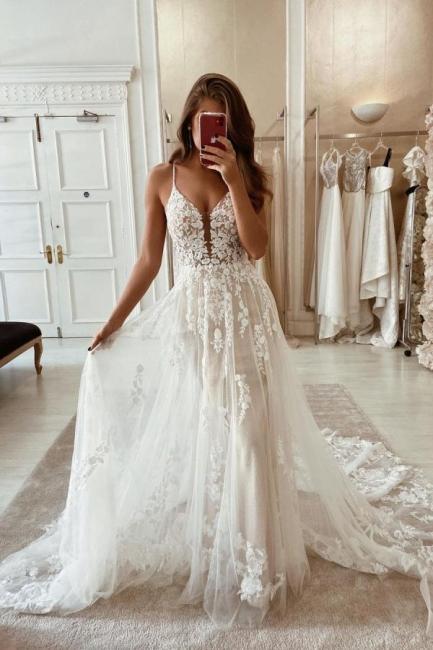 Schlichte Brautkleider Spitze | Hochzeitskleider A Linie Günstig