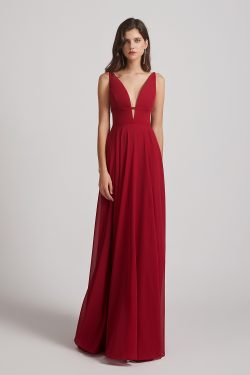 Straps Long Chiffon Plunging V-neck Bridesmaid Dresses