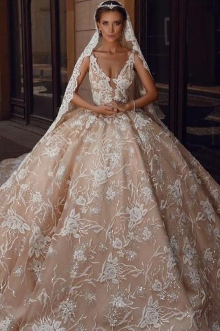 Extravagante Brautkleider Prinzessin | Spitze Hochzeitskleider Glitzer