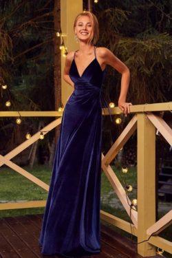 Velvet Abendkleider Lang Günstig | Abiballkleider König Blau